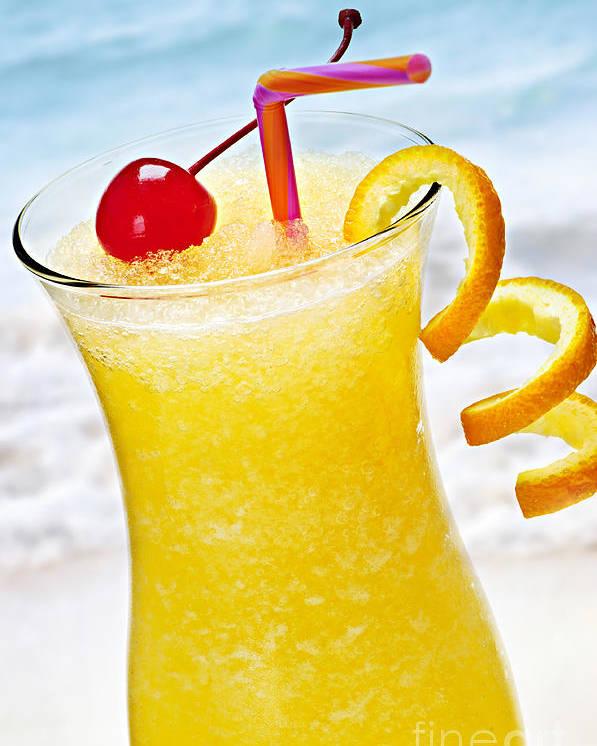 Orange Poster featuring the photograph Frozen Tropical Orange Drink by Elena Elisseeva