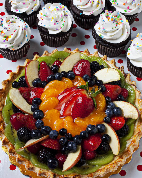 Fruit Tart Pie Pies Poster featuring the photograph Fruit Tart Pie And Cupcakes by Garry Gay