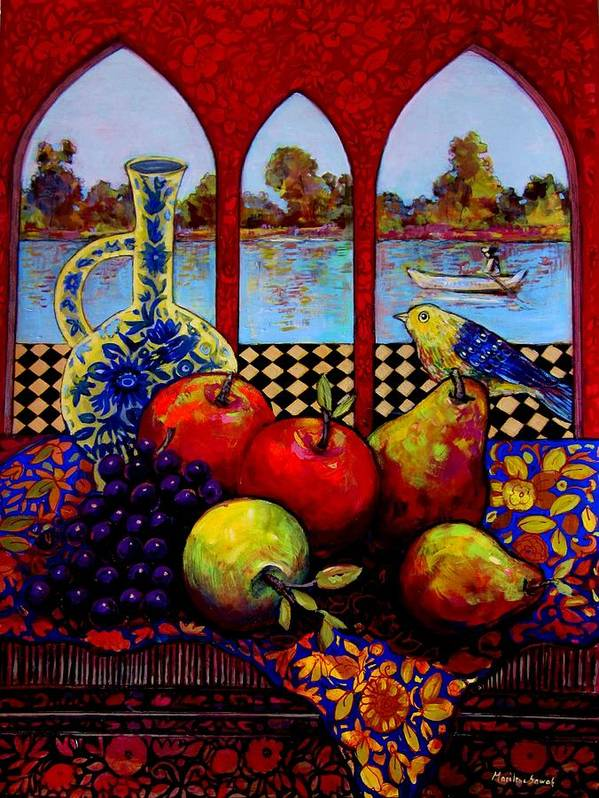 Venice Poster featuring the painting Fruits And River by Marilene Sawaf