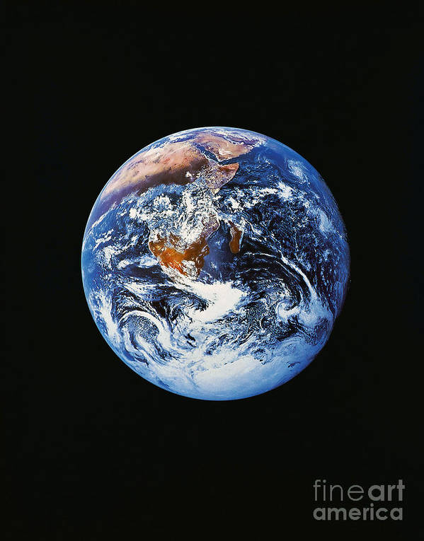 Vertical Poster featuring the photograph Full Earth From Space by Stocktrek Images