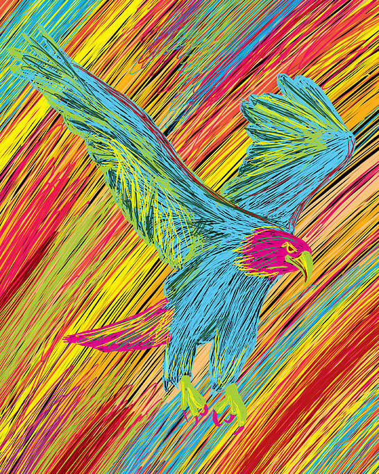 Furious Bold Bald Eagle Poster featuring the painting Furious Bold Bald Eagle by Kenal Louis