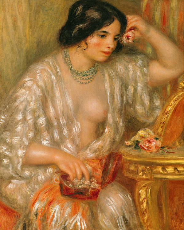 Gabrielle Renard; 1878-1959; Aux Bijoux; Jewels; Jewelry Box; Necklace; Roses; Female; Model; Portrait; Impressionist; Jewellery; Model; Beauty Poster featuring the painting Gabrielle With Jewellery by Pierre Auguste Renoir