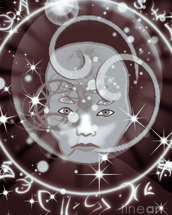 Galactic Poster featuring the digital art Galactic Face by Gia Simone