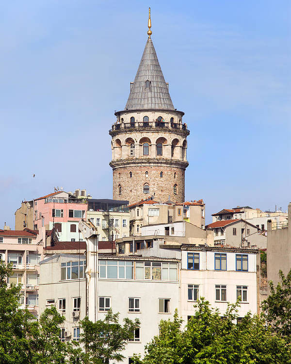 Galata Poster featuring the photograph Galata Tower In Istanbul by Artur Bogacki