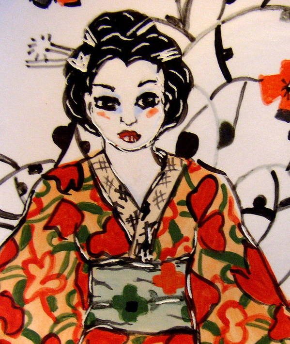 Art Poster featuring the ceramic art Geisha In Training by Patricia Lazar