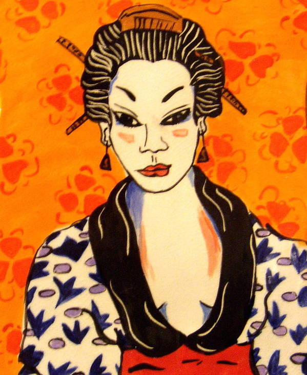 Print Poster featuring the ceramic art Geisha No. 1 by Patricia Lazar