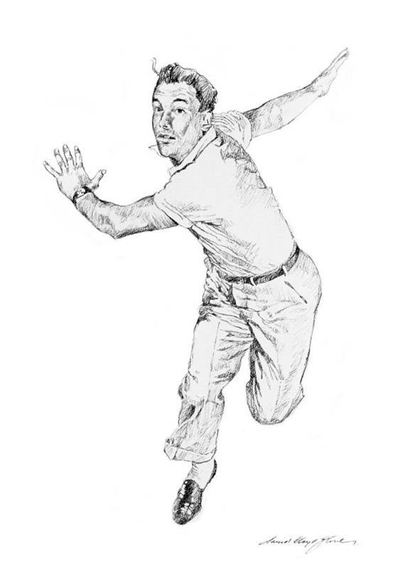 Gene Kelly Poster featuring the drawing Gene Kelly by David Lloyd Glover