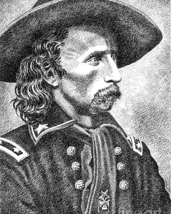 Jim Bridger Poster featuring the drawing General Custer by Gordon Punt