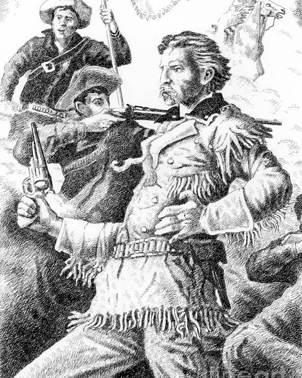 Jim Bridger Poster featuring the drawing General Custer's Last Stand by Gordon Punt