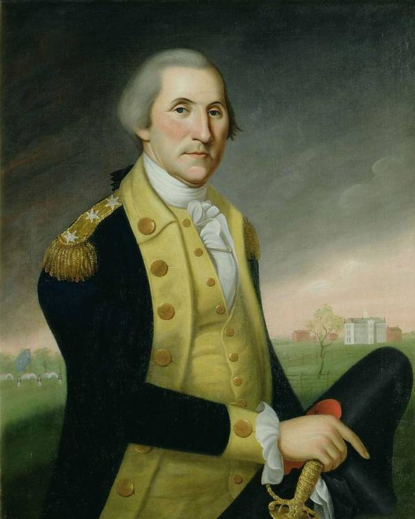 Male Poster featuring the painting George Washington At Princeton by Charles P Polk