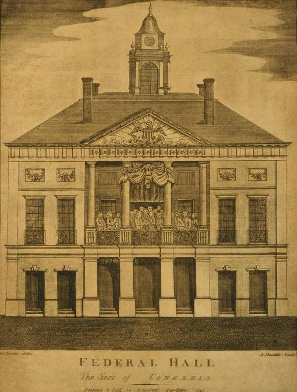 History Poster featuring the photograph George Washingtons First Inauguration by Everett