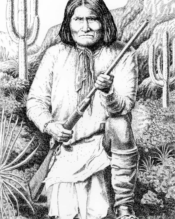 Jim Bridger Poster featuring the drawing Geronimo by Gordon Punt