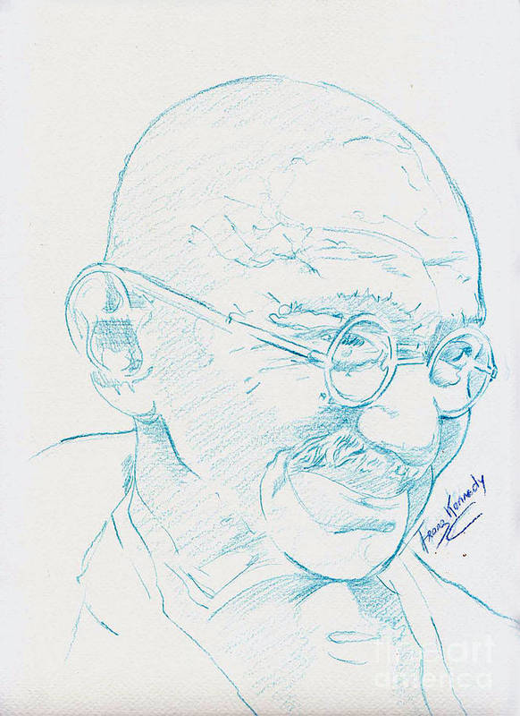 Ghandi Poster featuring the drawing Ghandi by Kennedy Franz