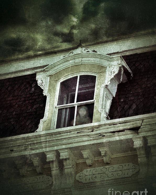 House Poster featuring the photograph Ghostly Girl In Upstairs Window by Jill Battaglia