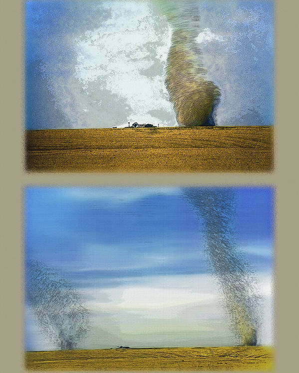 Dust Storms Poster featuring the photograph Giant Dust Devils Diptych by Steve Ohlsen