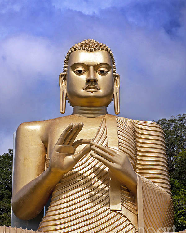 Ancient Poster featuring the photograph Giant Gold Bhudda by Jane Rix