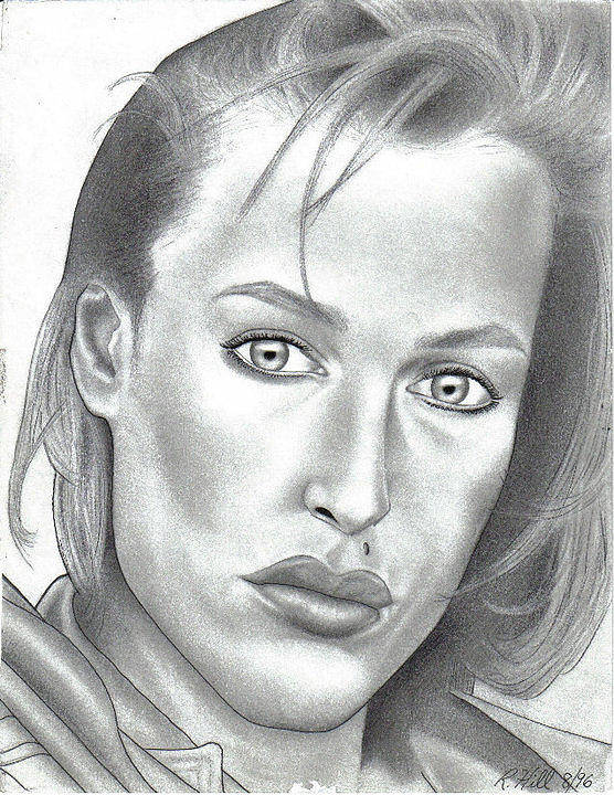 Portraits Poster featuring the drawing Gillian Anderson by Rick Hill