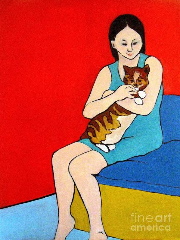 Portrait Poster featuring the painting Girl And Cat by Linda Vespasian