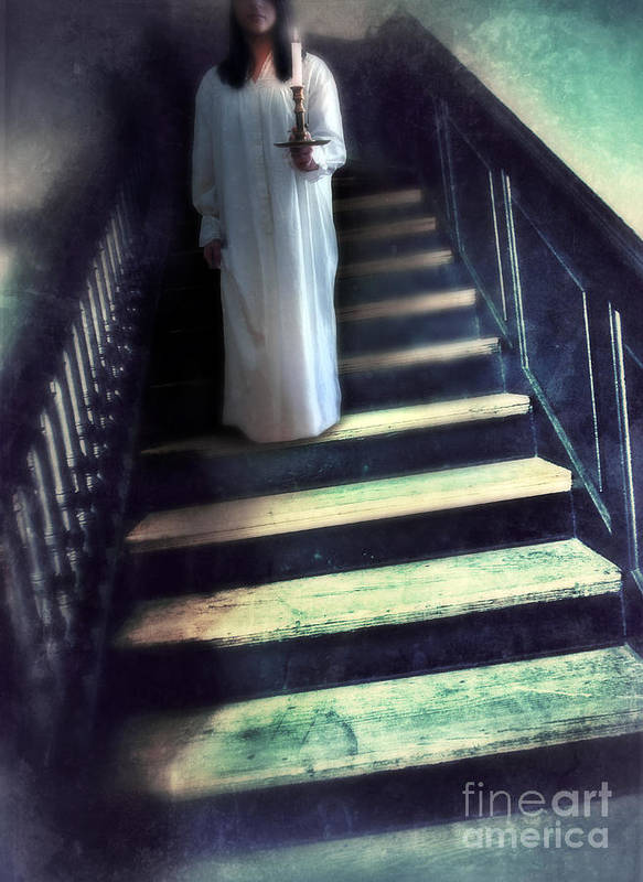 Woman Poster featuring the photograph Girl In Nightgown On Steps by Jill Battaglia