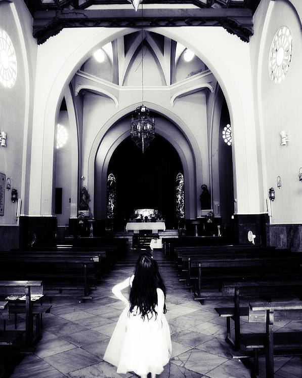 Church Poster featuring the photograph Girl In The Church by Jenny Rainbow