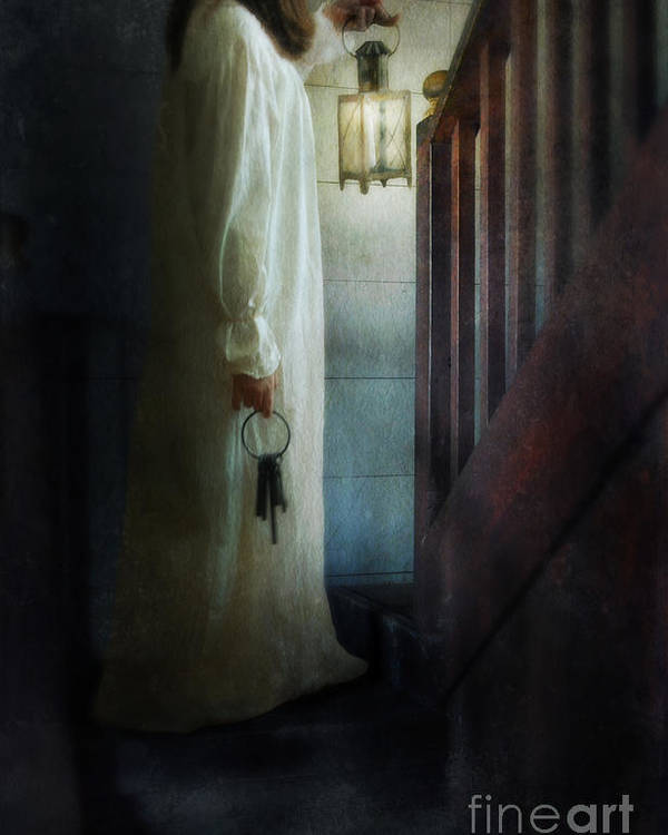 Woman Poster featuring the photograph Girl On Stairs With Lantern And Keys by Jill Battaglia