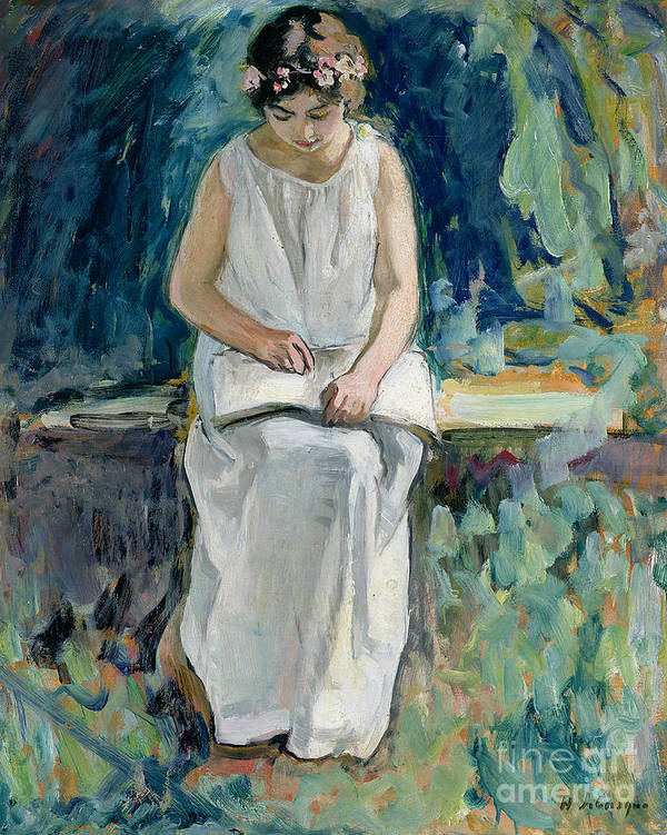 Jeune Fille Lisant; Female; Portrait: Dress; Book; Circlet; Garden; Seated; Floral Garland; Leisure; Girl Reading Poster featuring the painting Girl Reading by Henri Lebasque