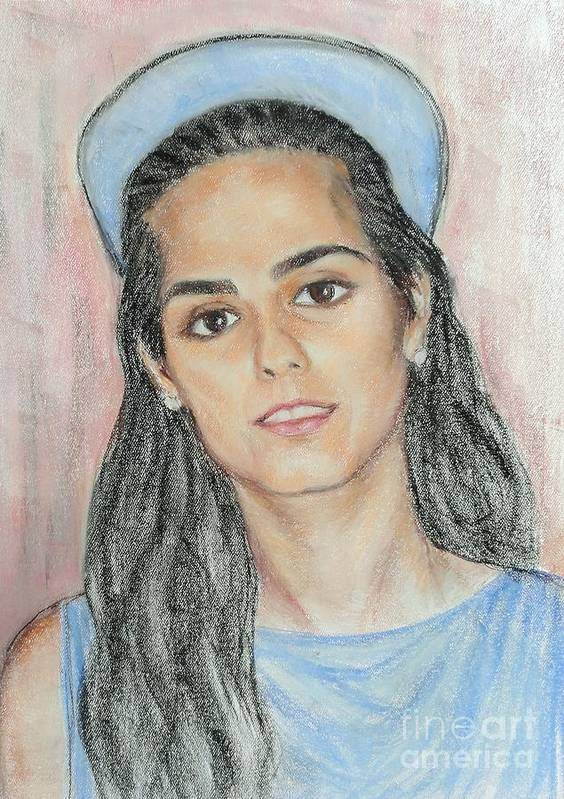 Portrait Poster featuring the painting Girl With A Blue Cap by Ziba Bastani