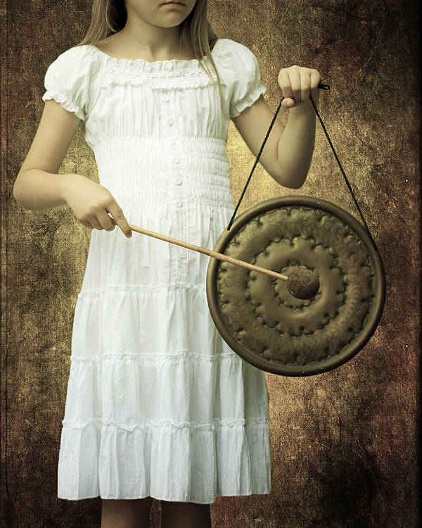 Girl Poster featuring the photograph Girl With Gong by Joana Kruse