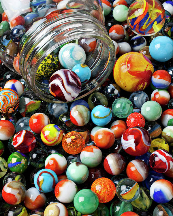 Glass Poster featuring the photograph Glass Jar And Marbles by Garry Gay