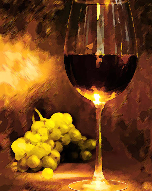 Wine Poster featuring the painting Glass Of Wine And Green Grapes By Candlelight by Elaine Plesser
