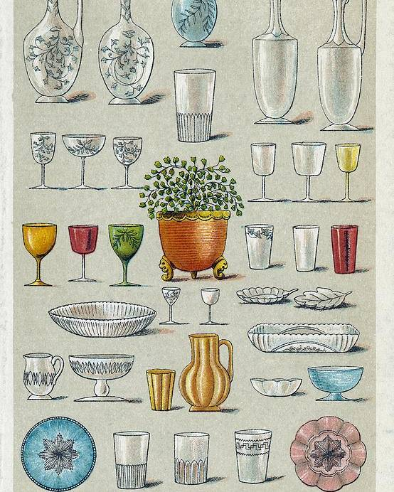 History Poster featuring the photograph Glassware, Historical Artwork by Mid-manhattan Picture Collectionglassnew York Public Library