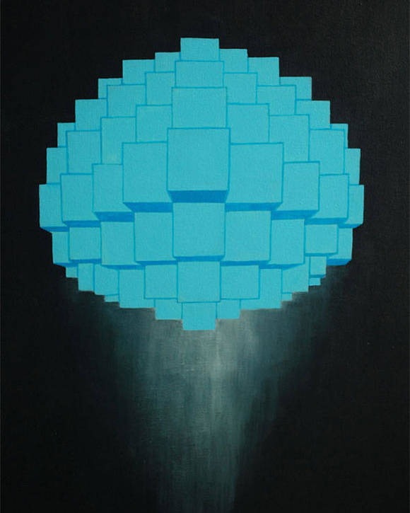 Blue Poster featuring the painting Globule by Michael Mizenko