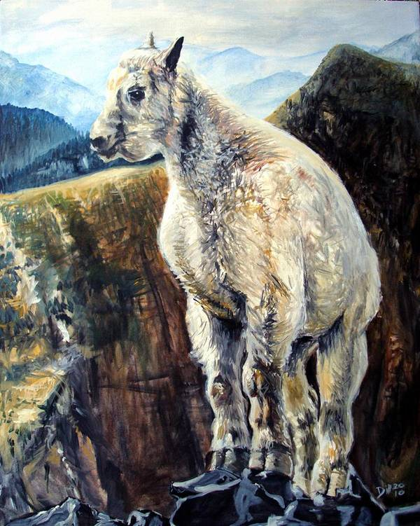 Goat Painting Acrylic Mountain Goats Baby Kid Hoof Horn Goaty Poster featuring the painting Goat by Rust Dill