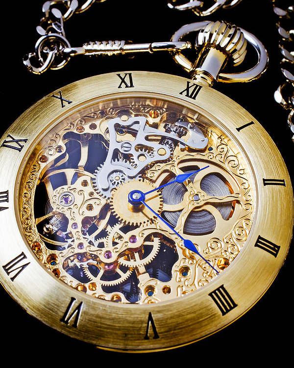 Time Poster featuring the photograph Gold Pocket Watch by Garry Gay