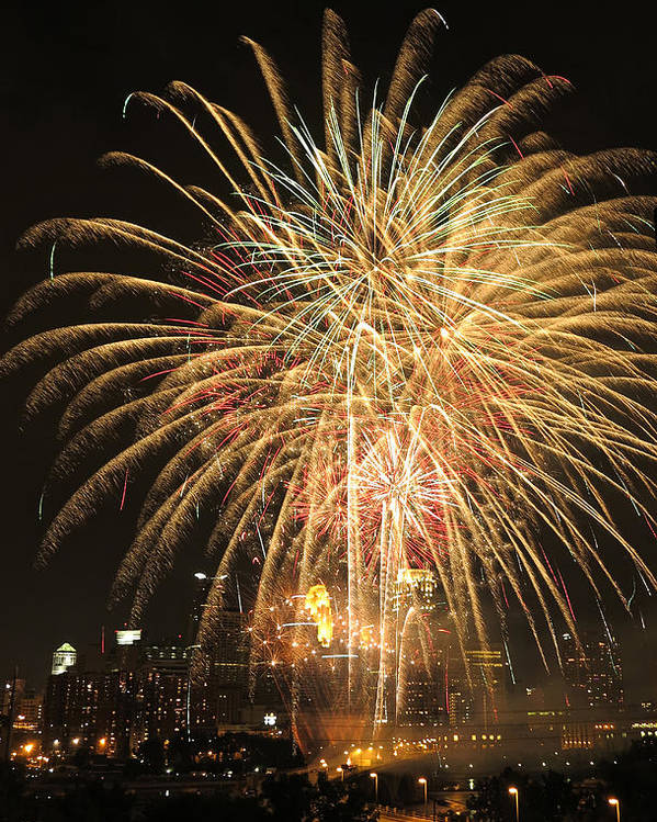 Fireworks Poster featuring the photograph Golden Fireworks Over Minneapolis by Heidi Hermes