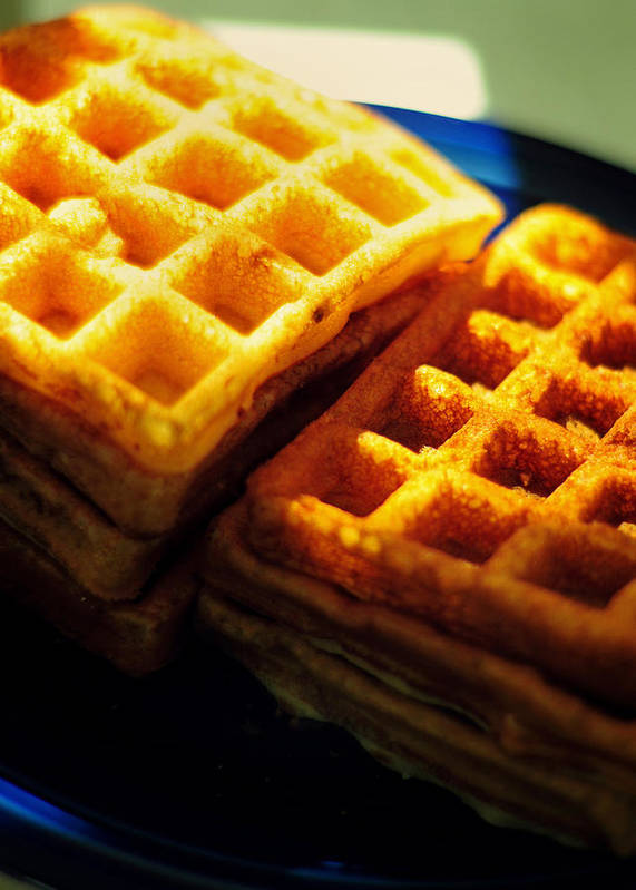 Waffles Poster featuring the photograph Golden Waffles by Rebecca Sherman