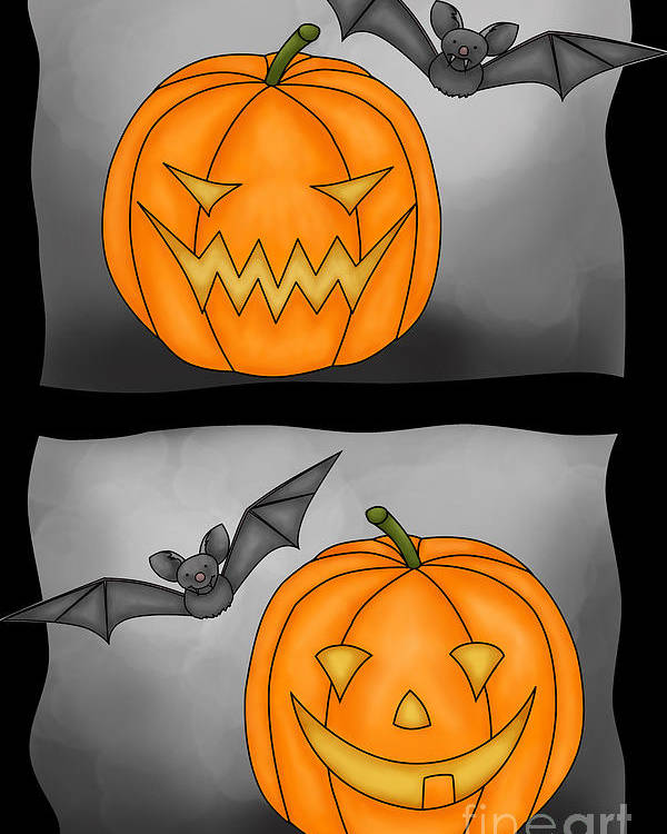 Pumkin Poster featuring the digital art Good Pumpkin - Bad Pumpkin by Claudia Pflicke