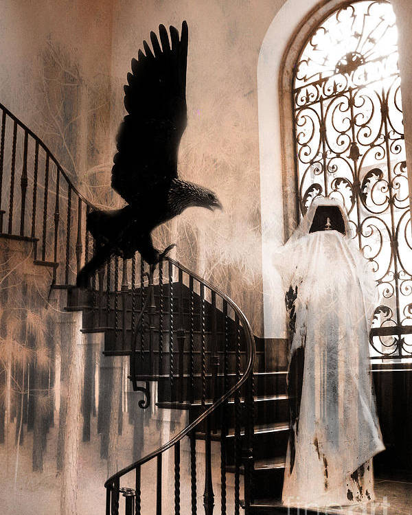 Gothic Halloween Photos Poster featuring the photograph Gothic Surreal Grim Reaper With Large Eagle by Kathy Fornal