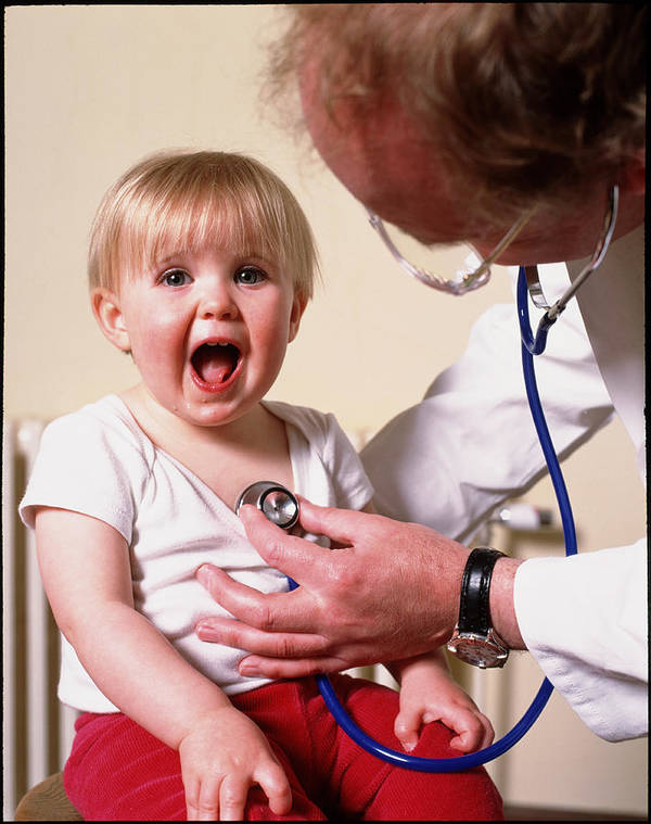 People Person Persons Poster featuring the photograph Gp Doctor Examines Child's Chest With Stethoscope by Tek Image