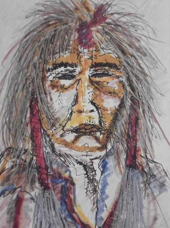Portrait Native American Grandfather Spirit  Poster featuring the mixed media Grandfather Spirit by Nashoba Szabol