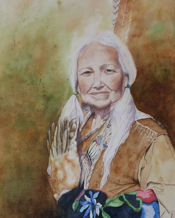 Native American Spirit Portrait Poster featuring the painting Grandmother Many Horses by Patsy Sharpe
