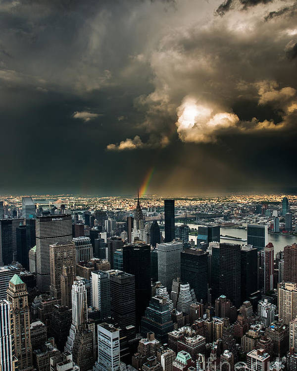 Manhatten Poster featuring the photograph Great Skies Over Manhattan by Hannes Cmarits