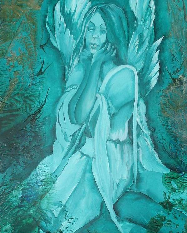 Angels Poster featuring the painting Green Angel by Angelina Whittaker Cook