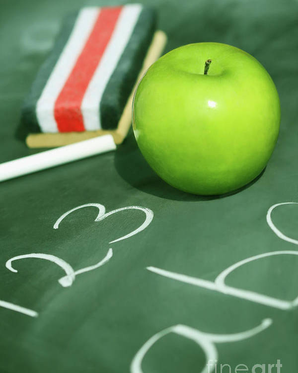Apple Poster featuring the photograph Green Apple For School by Sandra Cunningham