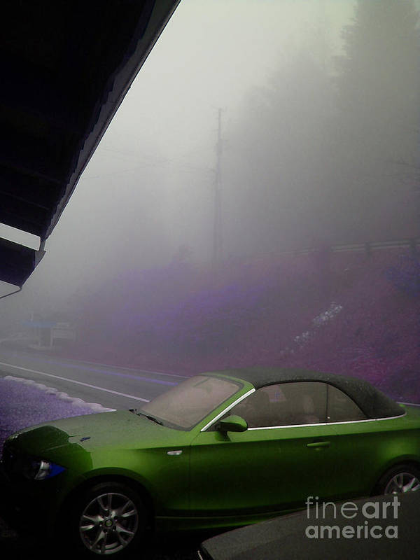 Fog Poster featuring the photograph Green Car by Beebe Barksdale-Bruner