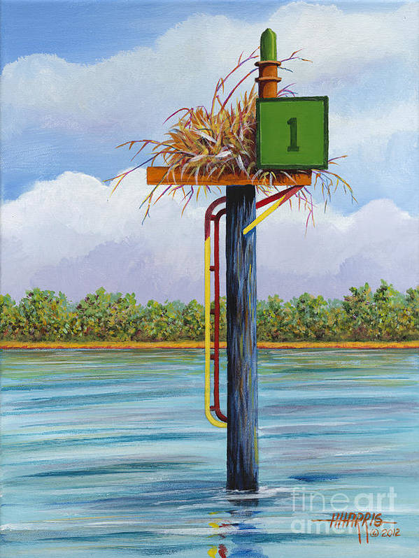Landscape Poster featuring the painting Green Channel Marker by Hugh Harris