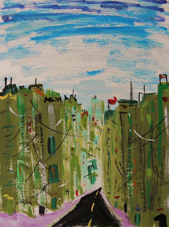 City Poster featuring the painting Green City by Mary Carol Williams