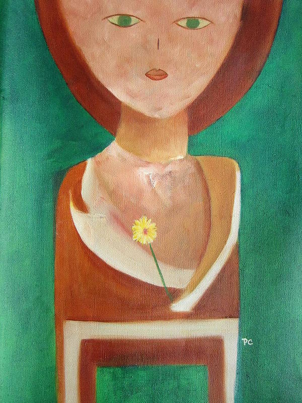 Original Poster featuring the painting Green Eyes by Patricia Cleasby