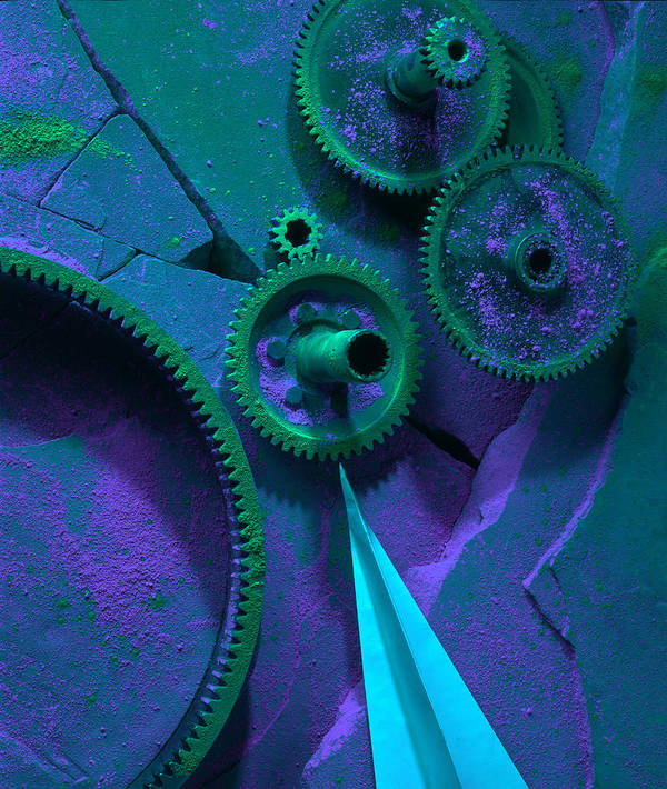 Gears Poster featuring the photograph Green Gears by Ron Schwager