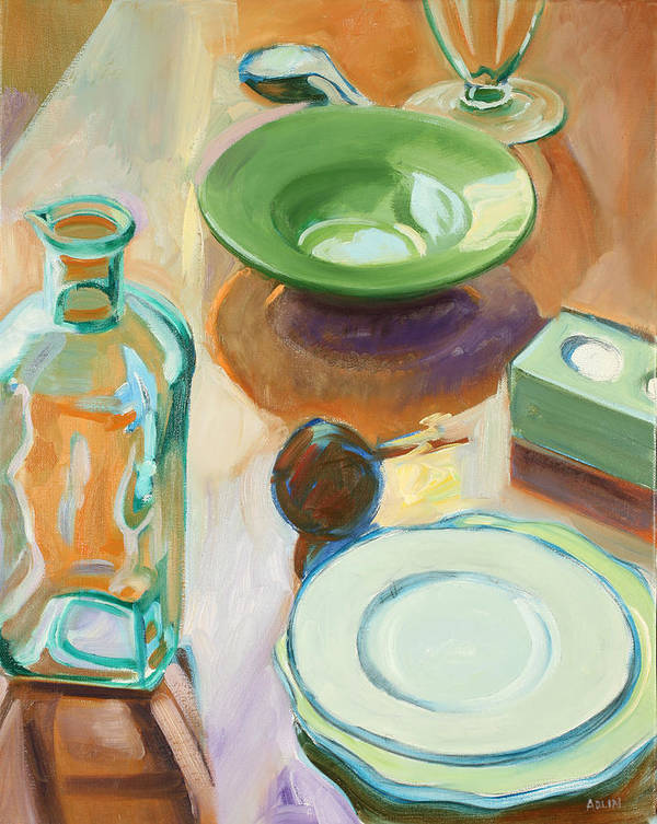 Still-life Poster featuring the painting Green Glass And Plates by Maralyn Adlin